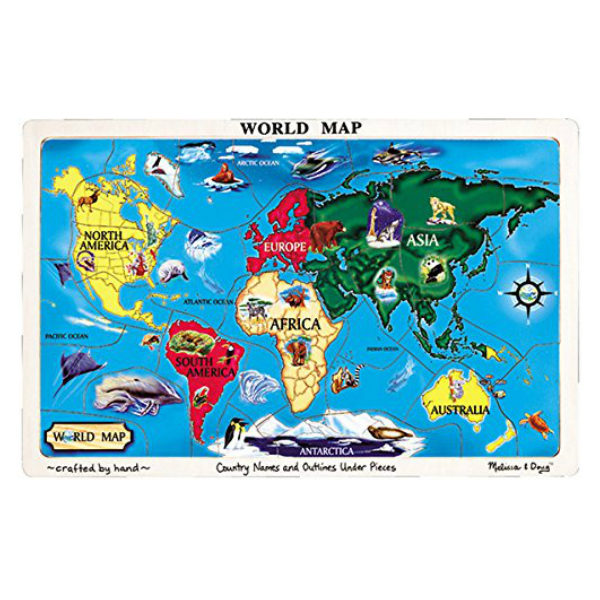 Map Of America Jigsaw.World Map Wooden Jigsaw Puzzle With Tray